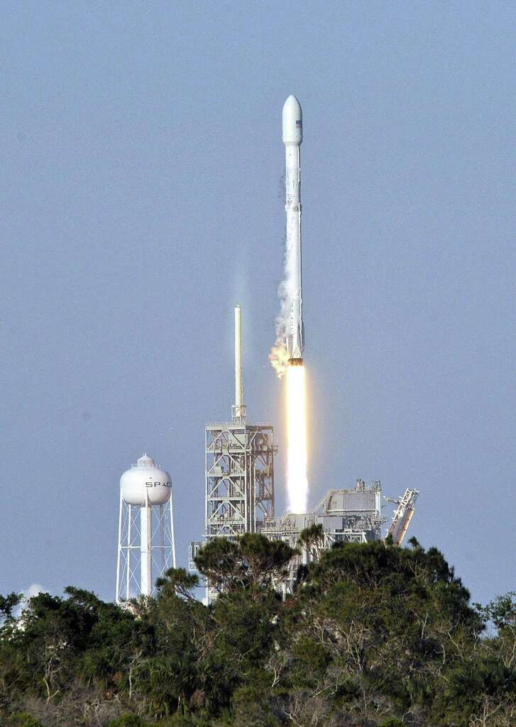 Space X's Falcon 9 rocket lifts off from space launch complex 39A at Kennedy Space Center, Fla. on March 30, 2017, with an SES communications satellite.