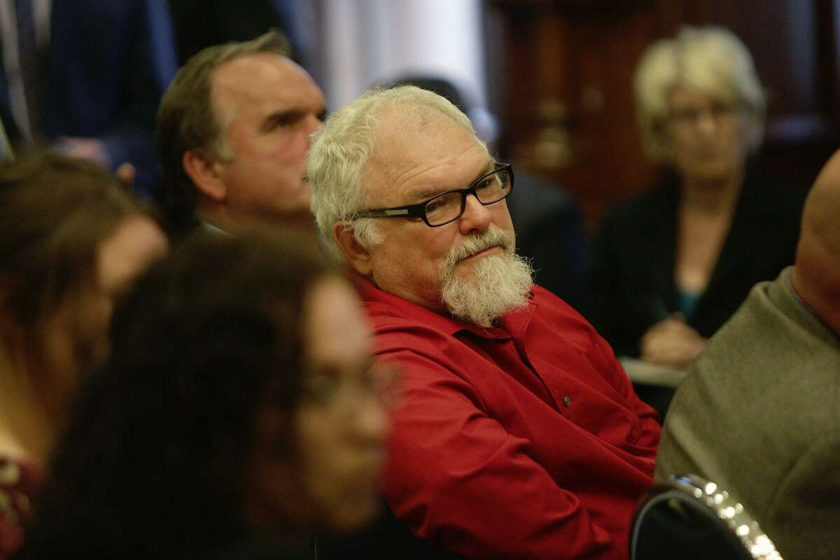 Stephen Willeford watches a Santa Fe High School student speak during a roundtable with Gov. Greg Abbott concerning school security at the Texas State Capitol on Thursday, May 24, 2018.