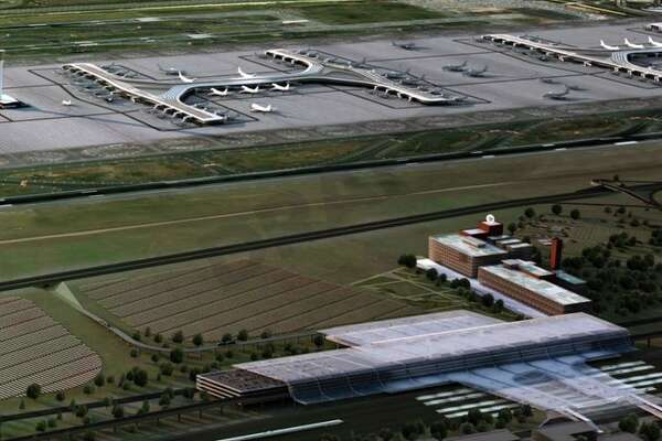 Proposed 'head house' for a rebuilt Newark Airport is next to the Budweiser brewery building (with the white circle on top). (Image: Regional Plan Association)