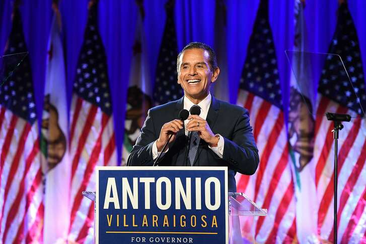 California gubernatorial candidate Antonio Villaraigosa speaks to his supporters on election night at the City Market Social House in downtown Los Angeles on June 5, 2018. (Wally Skalij/Los Angeles Times/TNS)