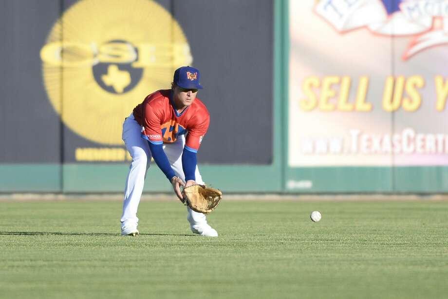 RockHounds outfielder Tyler Marincov gathers up a hit from Corpus Christi June 15, 2018, at Security Bank Ballpark.  James Durbin/Reporter-Telegram Photo: James Durbin