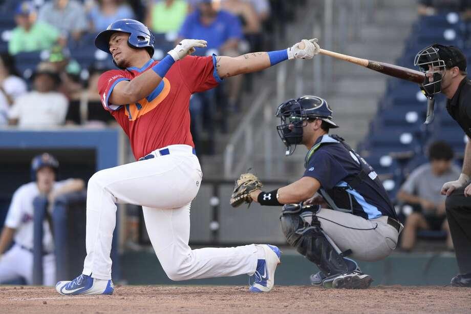 RockHounds' Edwin Diaz hits against Corpus Christi June 15, 2018, at Security Bank Ballpark.  James Durbin/Reporter-Telegram Photo: James Durbin