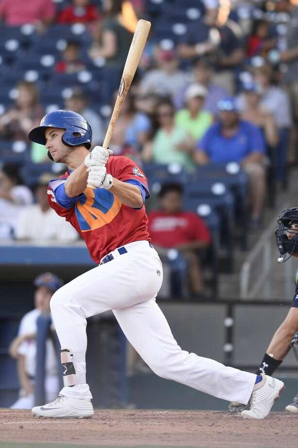 RockHounds' Eli White hits against Corpus Christi June 15, 2018, at Security Bank Ballpark.  James Durbin/Reporter-Telegram Photo: James Durbin