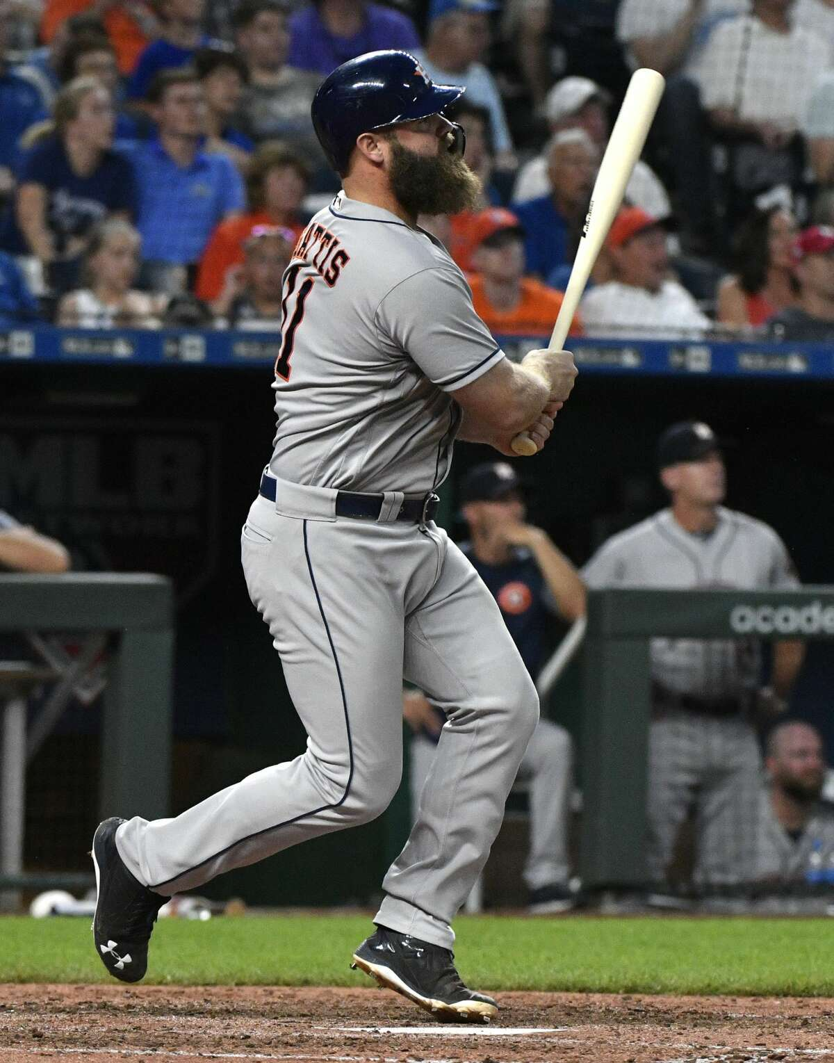 KANSAS CITY, MO - JUNE 15: Evan Gattis #11 of the Houston Astros hits a grand slam in the sixth inning against the Kansas City Royals at Kauffman Stadium on June 15, 2018 in Kansas City, Missouri. (Photo by Ed Zurga/Getty Images)