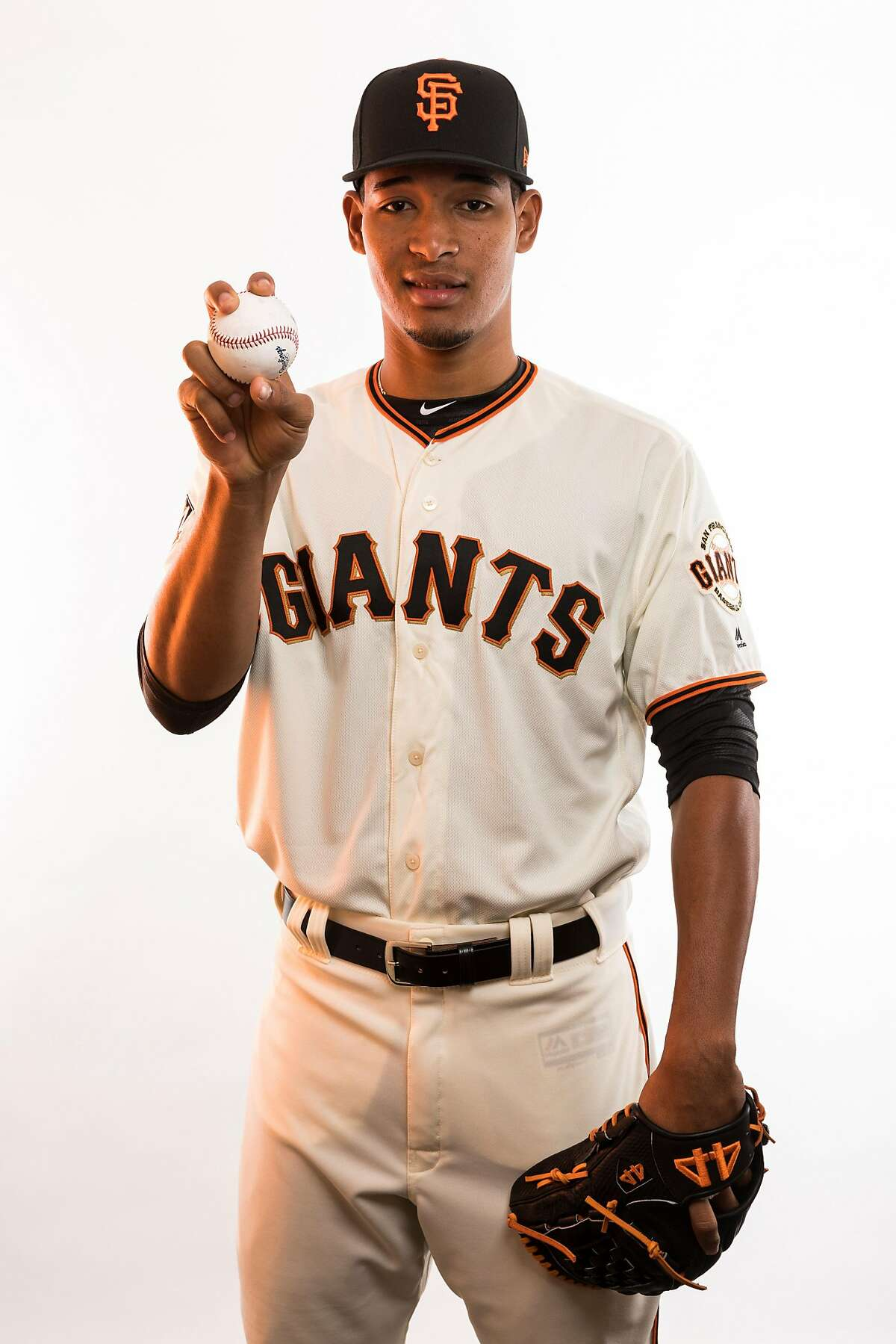 SCOTTSDALE, AZ - FEBRUARY 20: Pitcher Julian Fernandez (70) poses for a photo during the San Francisco Giants photo day on Tuesday, Feb. 20, 2018 at Scottsdale Stadium in Scottsdale, Ariz. (Photo by Ric Tapia/Icon Sportswire via Getty Images)