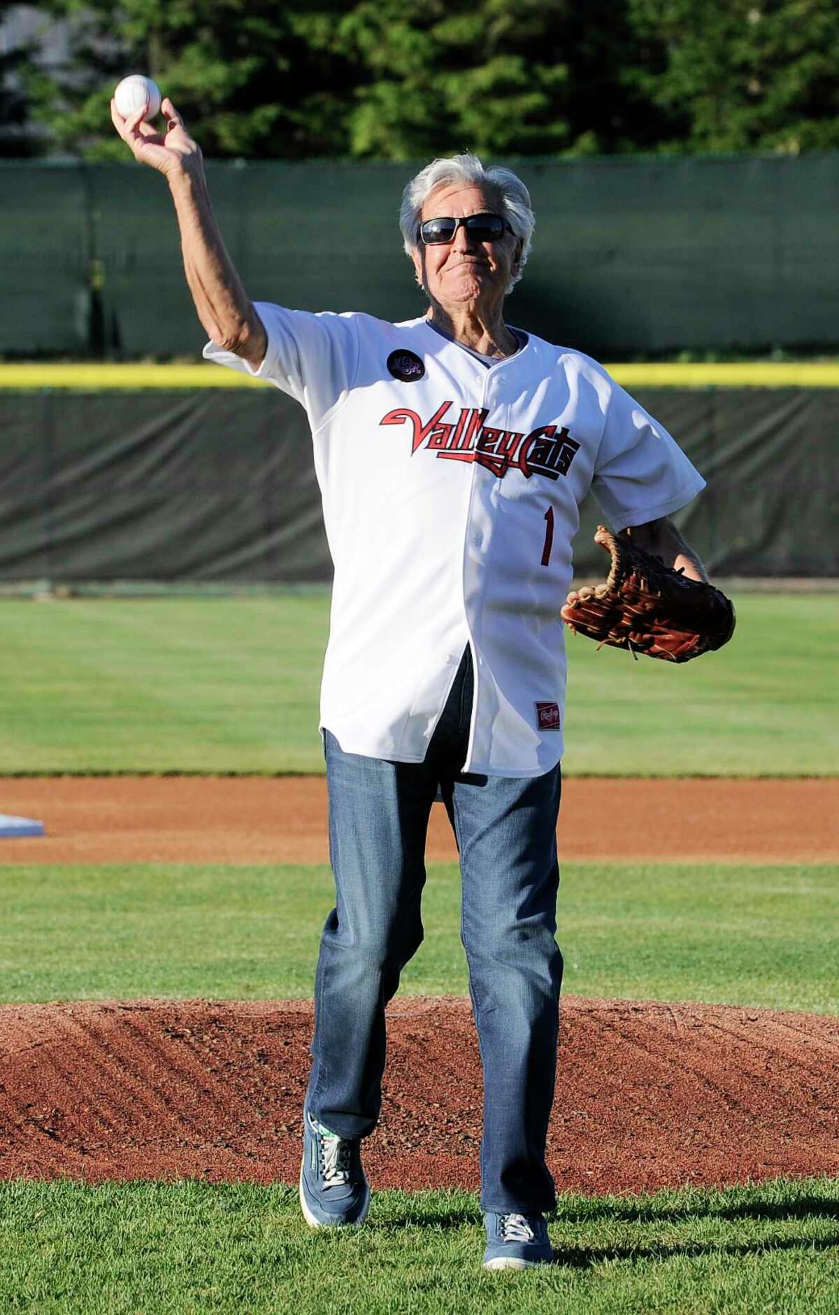 Joe Bruno throws out the first pitch as the Tri-City ValleyCats play the Vermont Lake Monsters during their regular-season home opener baseball game Friday, June 15, 2018, in Troy, N.Y. (Hans Pennink / Special to the Times Union)