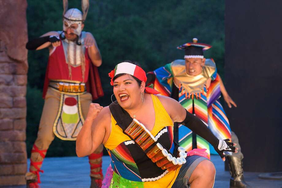 "From left, Juan Amador, Amy Lizardo, and Carlos Aguirre as Calacas in Octavio Solis' ""Quixote Nuevo."" Photo: Kevin Berne."