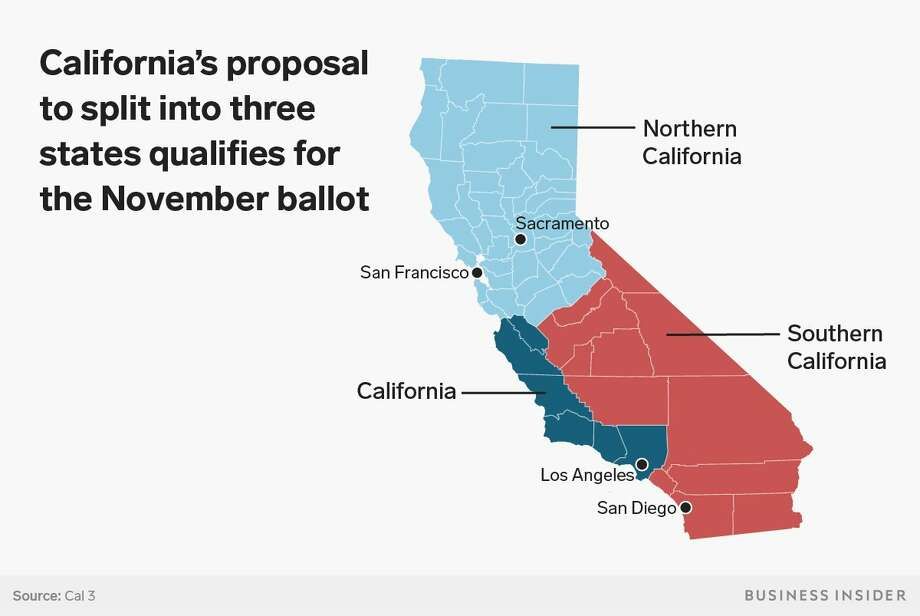 this map shows how california would be split into three different states which is being - Konformitatserklarung Muster