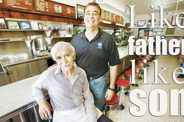 "James ""Jimmy"" Angelo Boukas, left, and his son Angelo James Boukas, are still running the GB Grill on East Broadway in Alton, 50 years after Jimmy started working at the restaurant."