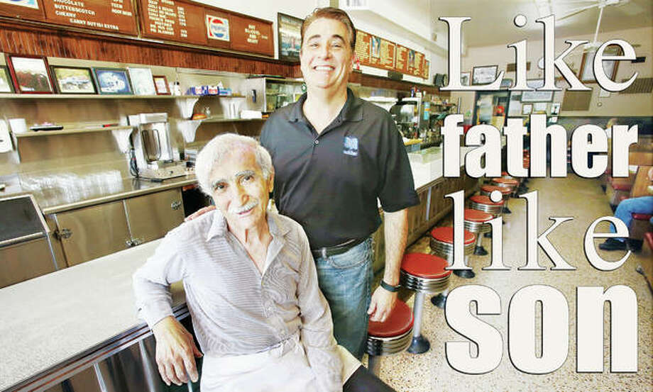 "James ""Jimmy"" Angelo Boukas, left, and his son Angelo James Boukas, are still running the GB Grill on East Broadway in Alton, 50 years after Jimmy started working at the restaurant. Photo:     John Badman