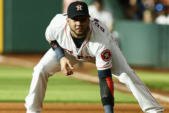 HOUSTON, TX - JUNE 02:  Yuli Gurriel #10 of the Houston Astros during game action against the Boston Red Sox in the first inning at Minute Maid Park on June 2, 2018 in Houston, Texas.  (Photo by Bob Levey/Getty Images)
