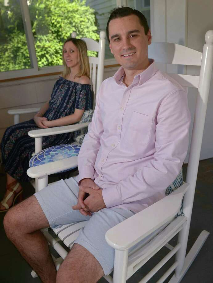 Dan Houle and his wife Justine Houle at their home Saturday, June 16th 2018, in Fairfield, Conn. Houle has shared his story on infertility and on his difficulty becoming a father. Photo: Erik Trautmann / Hearst Connecticut Media / Norwalk Hour
