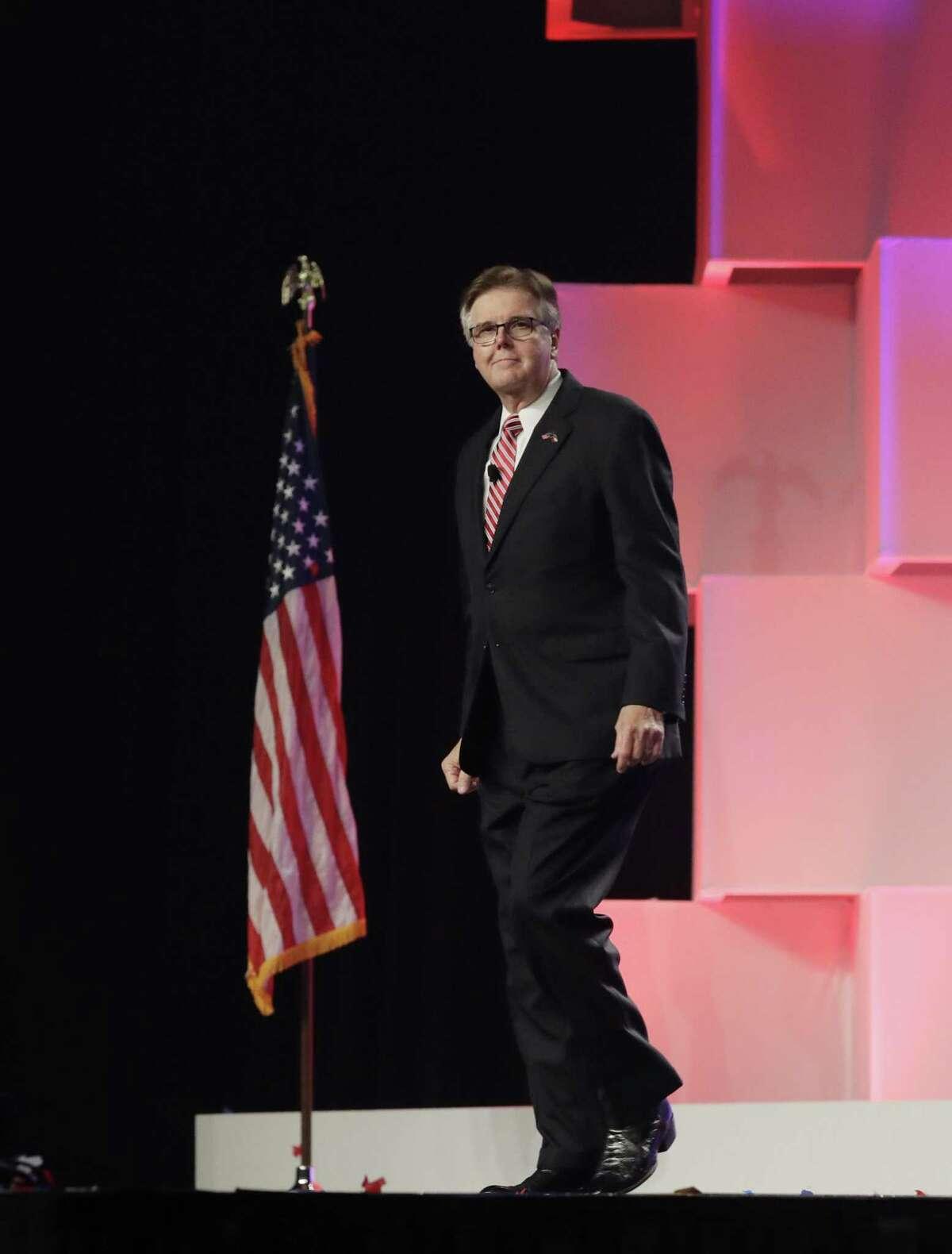 Lt. Gov. Dan Patrick arrives for the Texas GOP Convention in San Antonio on June 15.