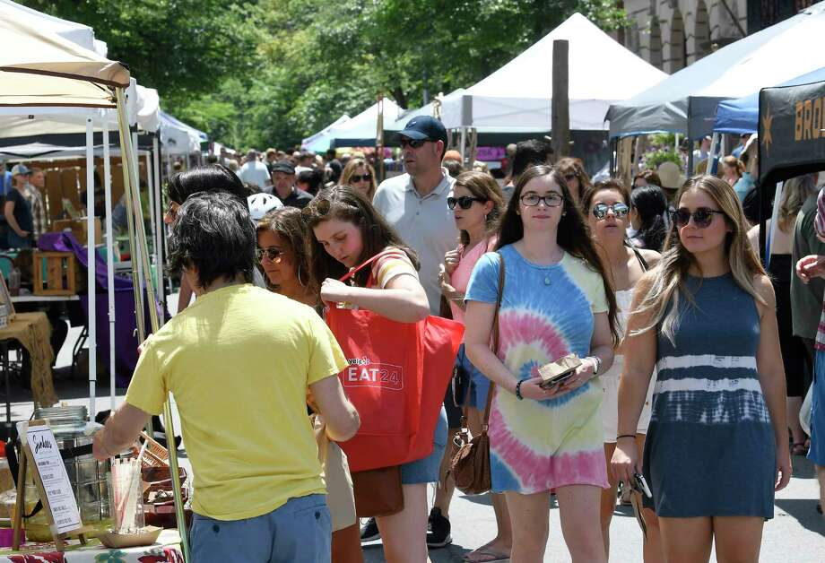 People shop while enjoying Troy River Fest Saturday, June 16, 2018, in Troy, N.Y. (Hans Pennink / Special to the Times Union) Photo: Hans Pennink / Hans Pennink