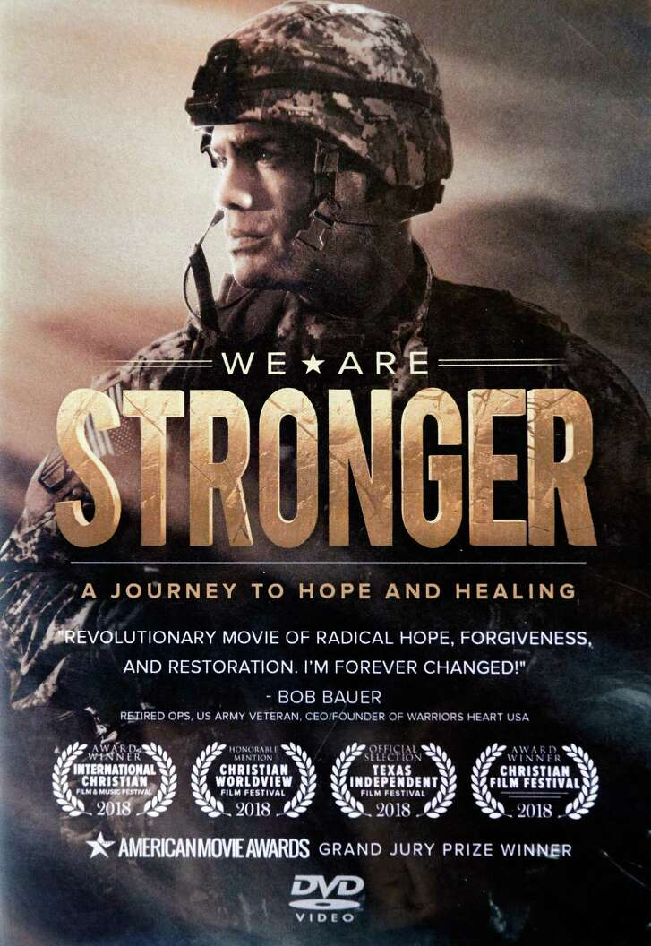 """The DVD box cover of """"We Are Stronger"""", staring Magnolia, TX, resident Ulises Larramendi, on Wednesday, May 16, 2018, in Magnolia, TX. (Michael Wyke / For the  Chronicle)"""