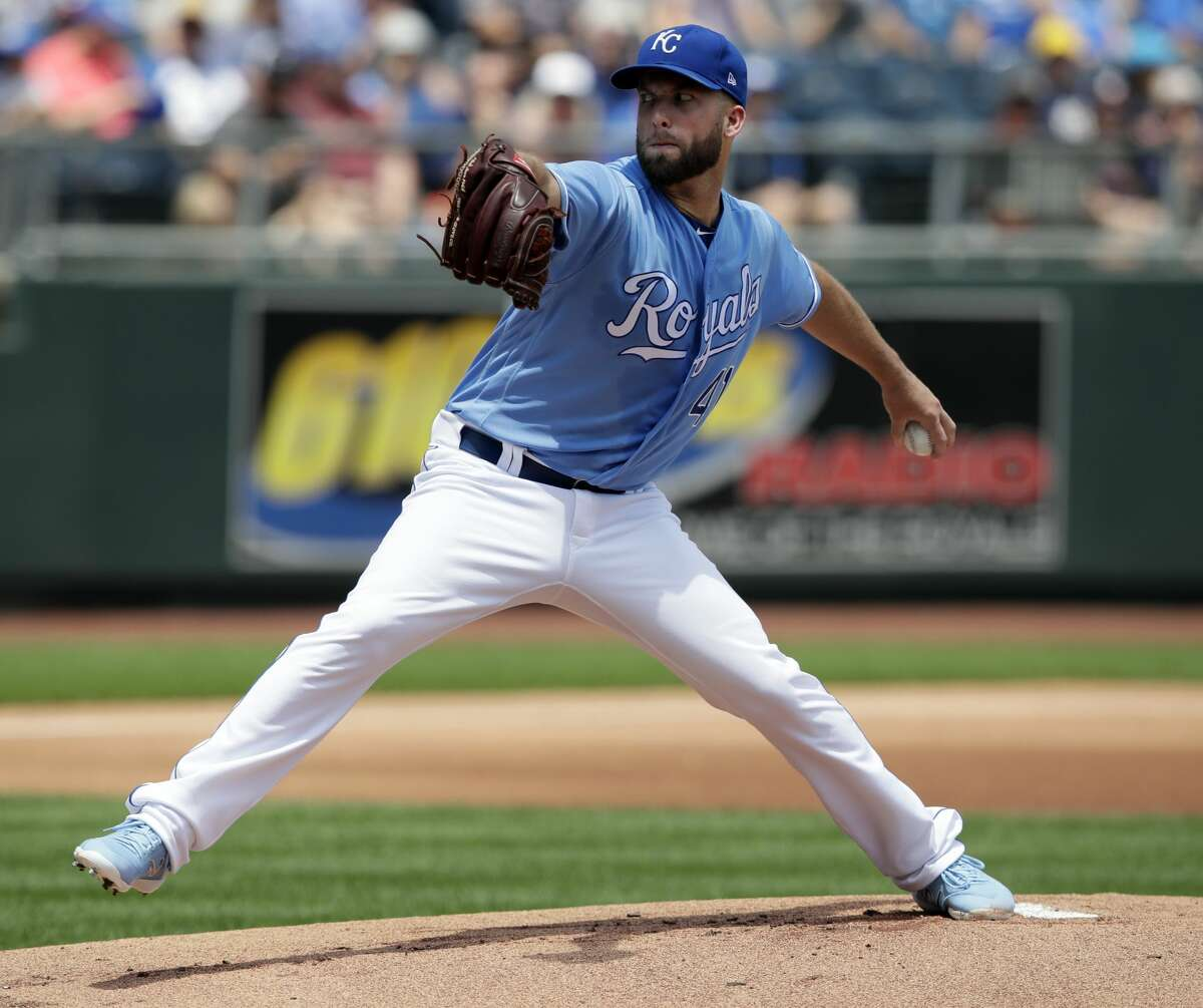 Kansas City Royals starting pitcher Danny Duffy delivers to a Houston Astros batter during the first inning of a baseball game at Kauffman Stadium in Kansas City, Mo., Saturday, June 16, 2018. (AP Photo/Orlin Wagner)