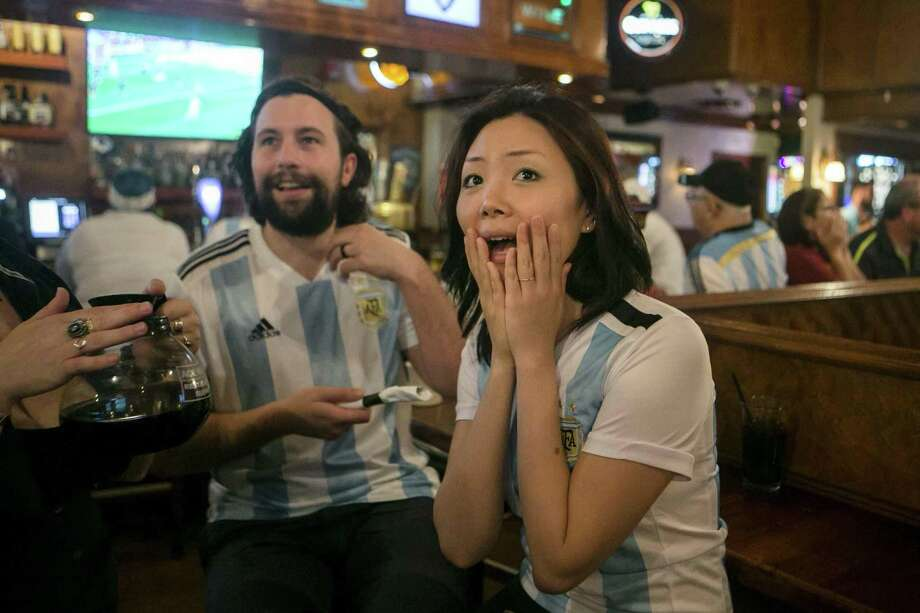 Argentina fan Dyne Biancardi watches in suspense as Argentina plays Iceland in the World Cup opening game at a watch party held at Winchester Bar in San Antonio June 16, 2018. Photo: Josie Norris, Staff / San Antonio Express-News / © San Antonio Express-News
