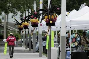 Information tents line the walkway during the Juneteenth Celebration at Emancipation Park hosted by the city of Houston and Emancipation Park Conservancy on Saturday, June 16, 2018 in Houston.  (Elizabeth Conley/Houston Chronicle)