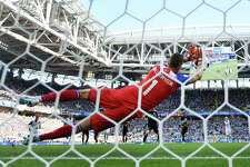 Iceland's Hannes Halldorsson saves a penalty kick from Lionel Messi of Argentina during their group D match at the World Cup on Saturday.