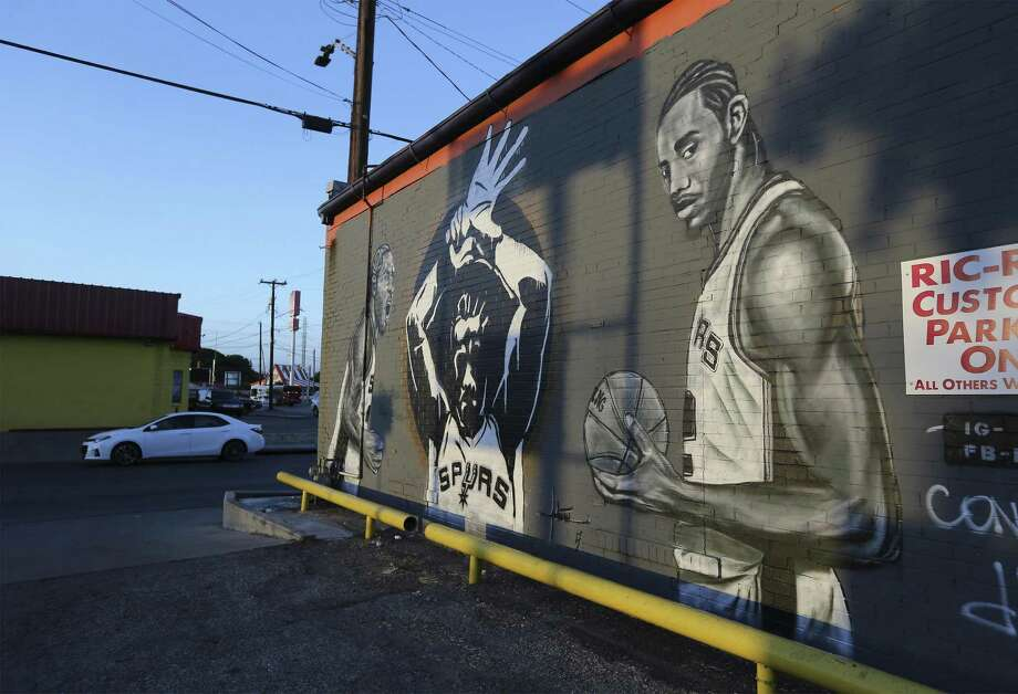 "A mural of Spurs star Kawhi Leonard on the side of Franky Diablos, will likely be painted over after Leonard was traded to the Raptors. The artist behind the mural posted a photo with the word ""void"" over the illustration. Click ahead to see. Photo: Kin Man Hui /San Antonio Express-News / ©2018 San Antonio Express-News"