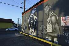 A mural of Spurs star Kawhi Leonard on the side of Franky Diablos, as seen Friday, June 15, 2018. Since his arrival, Leonard has become a beloved figure for San Antonio Spurs' fans. Local patrons weighed in on the reports Leonard might want a trade from the Spurs.