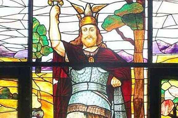 A stained-glass window in the Hermann Sons Home Associa- tion at 525 S. St. Mary's St. depicting Hermann the Cherusker was created by Helen Goolsby.