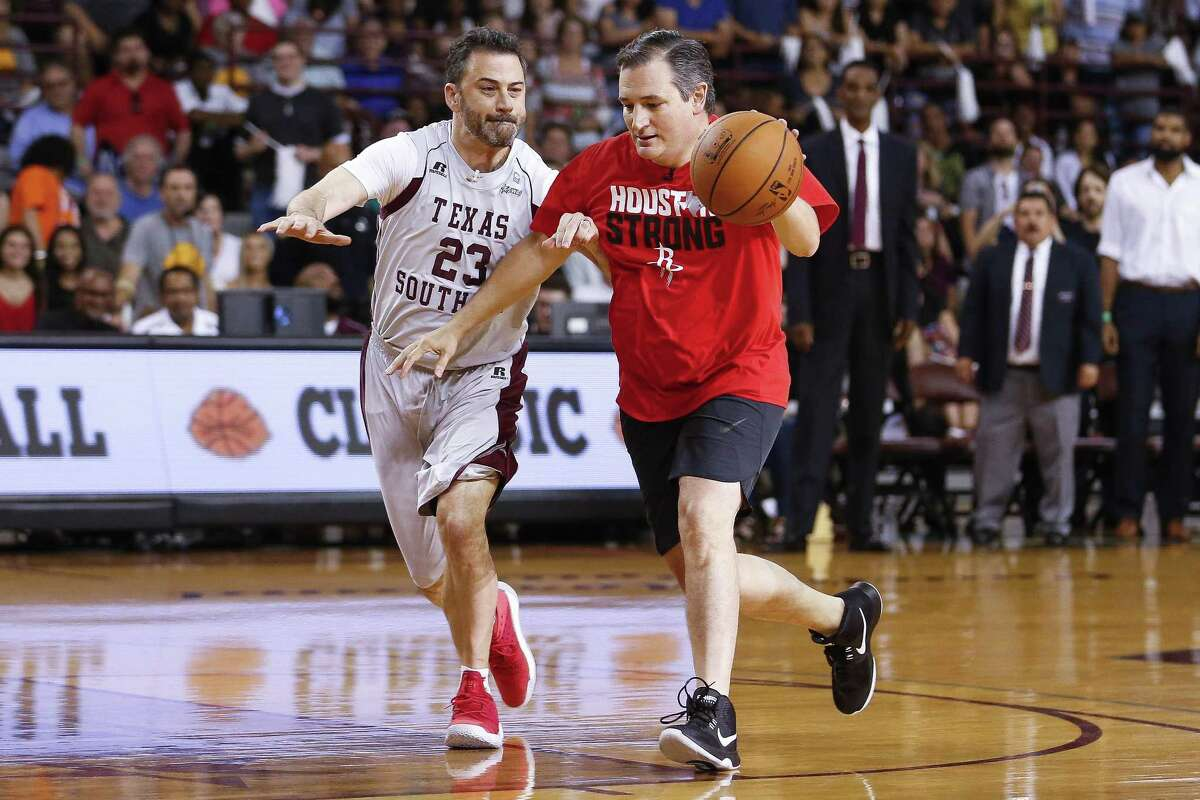 Senator Ted Cruz dribbles Jimmy Kimmel during the Blobfish Basketball Classic and one-on-one interview at the Texas Southern University Health & Physical Education Arena on Saturday, June 16, 2018 in Houston.  Cruz challenged Kimmel to the game after Kimmel blamed the senator for the Houston Rockets' playoff loss.  (Michael Ciaglo / Houston Chronicle)
