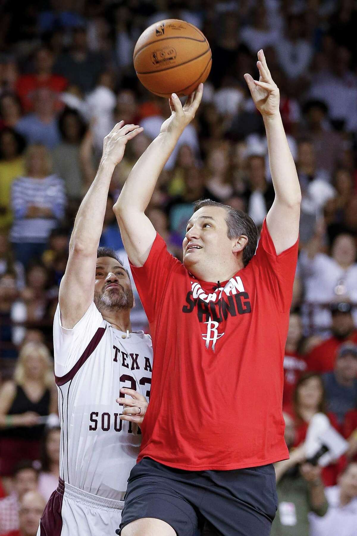 Jimmy Kimmel attempts to defend a shot by senator Ted Cruz during the Blobfish Basketball Classic and one-on-one interview at Texas Southern University's Health & Physical Education Arena Saturday, June 16, 2018 in Houston. Cruz challenged Kimmel to the game after Kimmel blamed the Houston Rockets playoff loss on the senator. (Michael Ciaglo / Houston Chronicle)