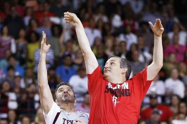 Senator Ted Cruz takes a shot over Jimmy Kimmel during the Blobfish Basketball Classic and one-on-one interview at Texas Southern University's Health & Physical Education Arena Saturday, June 16, 2018 in Houston. Cruz challenged Kimmel to the game after Kimmel blamed the Houston Rockets playoff loss on the senator. (Michael Ciaglo / Houston Chronicle)