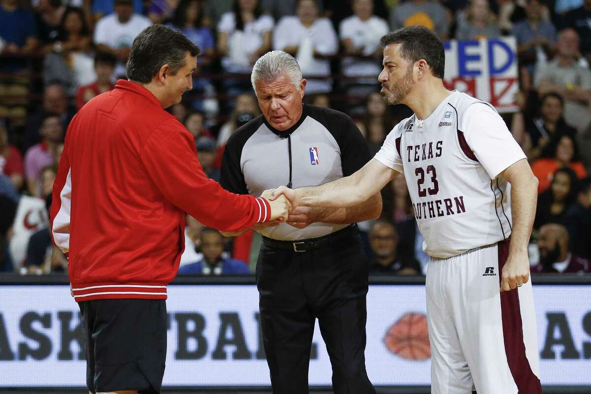 Senator Ted Cruz and Jimmy Kimmel shake hands before the Blobfish Basketball Classic and one-on-one interview at Texas Southern University's Health & Physical Education Arena Saturday, June 16, 2018 in Houston. Cruz challenged Kimmel to the game after Kimmel blamed the Houston Rockets playoff loss on the senator. (Michael Ciaglo / Houston Chronicle)