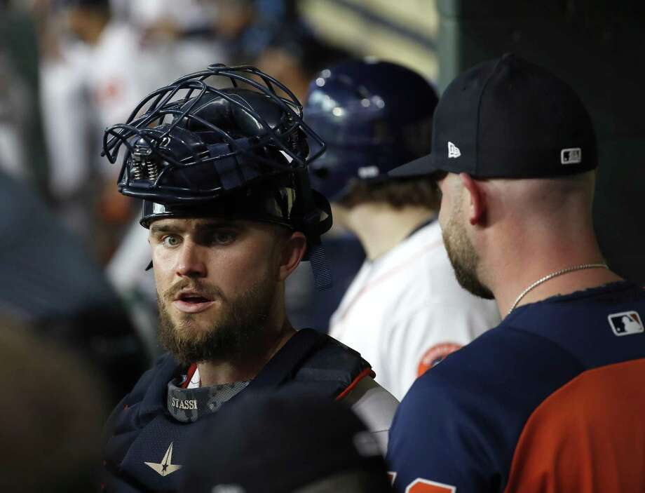 In his sixth season with the organization, catcher Max Stassi, left, finally has secured a hard-earned role with the Astros, and it's one he is making the most of so far. Photo: Karen Warren, Staff / Houston Chronicle / © 2018 Houston Chronicle