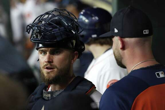 In his sixth season with the organization, catcher Max Stassi, left, finally has secured a hard-earned role with the Astros, and it's one he is making the most of so far.