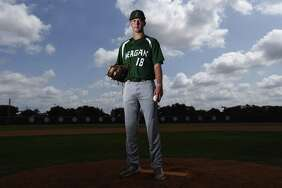 Portrait of Reagan pitcher Cal Carver for our All-Area baseball package. Carver is the 2018 Express-News player of the year. (Kin Man Hui/San Antonio Express-News)