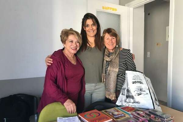 Bay Area residents Barbara Karvelis (left) and Cecelia Wambach (right) with a Greek teacher working to help refugee children on the island of Lesbos. Karvelis, of Redwood City, and Wambach, of Rossmoor, are part of a Bay Area group of former educators who are reinventing their retirement by providing classroom support to refugee children in Greece.