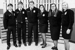 Jacksonville FFA held its annual banquet on May 10, recognizing officers for the upcoming year and honoring award recipients. Officers for the 2018-19 school year will be Blake Hadden (from left), sentinel; Luke Hadden, treasurer; Austin Dufelmeier, president; Chasey Tabit, vice president; Allison Wheeler, secretary; and Katie White, reporter.