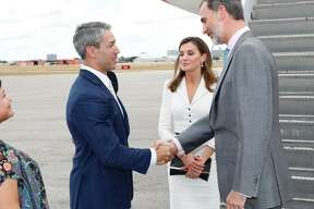 Mayor Ron Nirenberg greets King Felipe VI and Queen Letizia of Spain as the royal couple arrived in San Antonio Saturday, June 16, 2018, to celebrate the city's tricentennial.