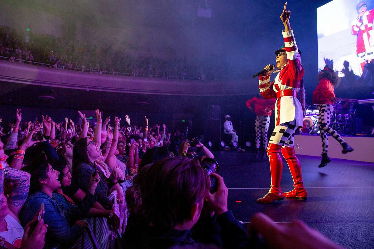Janelle Monae performs at the Masonic during her Dirty Computer Tour, Saturday, June 16, 2018, in San Francisco, Calif.