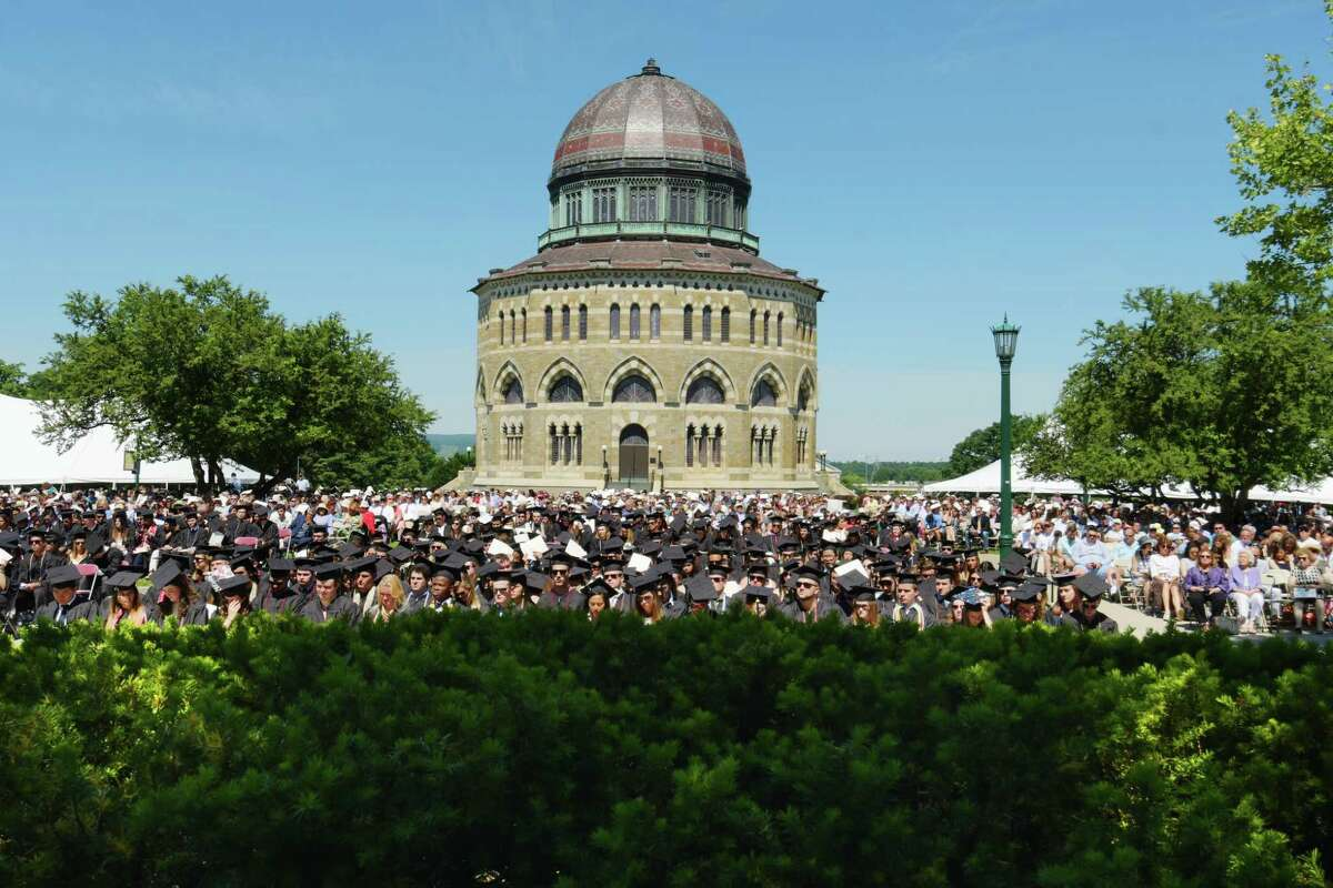 Graduates gather with family and friends for the Union College 224th Commencement Exercises on Sunday, June 17, 2018, in Schenectady, N.Y. (Paul Buckowski/Times Union)