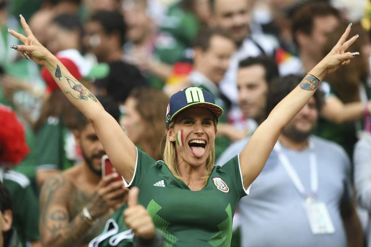 A Mexican fan celebrates their victory during the Russia 2018 World Cup Group F football match between Germany and Mexico at the Luzhniki Stadium in Moscow on June 17, 2018. (Photo by Francisco LEONG / AFP) / RESTRICTED TO EDITORIAL USE - NO MOBILE PUSH ALERTS/DOWNLOADS (Photo credit should read FRANCISCO LEONG/AFP/Getty Images)