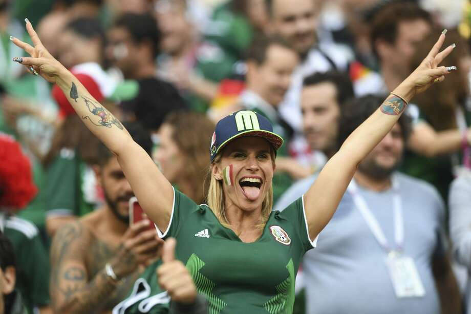 A Mexican fan celebrates their victory during the Russia 2018 World Cup Group F football match between Germany and Mexico at the Luzhniki Stadium in Moscow on June 17, 2018. (Photo by Francisco LEONG / AFP) / RESTRICTED TO EDITORIAL USE - NO MOBILE PUSH ALERTS/DOWNLOADS        (Photo credit should read FRANCISCO LEONG/AFP/Getty Images) Photo: FRANCISCO LEONG/AFP/Getty Images