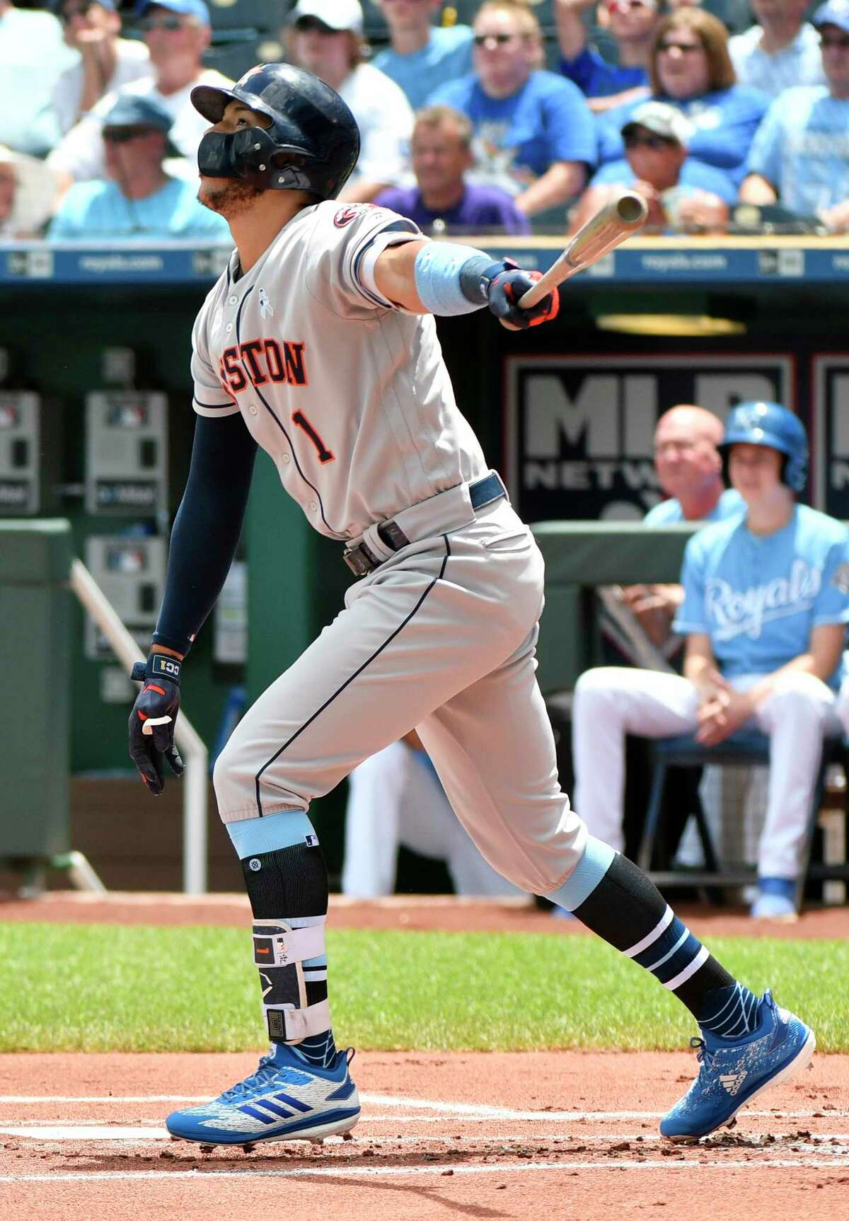KANSAS CITY, MO - JUNE 17: Carlos Correa #1 of the Houston Astros hits an RBI single in the first inning against the Kansas City Royals at Kauffman Stadium on June 17, 2018 in Kansas City, Missouri.
