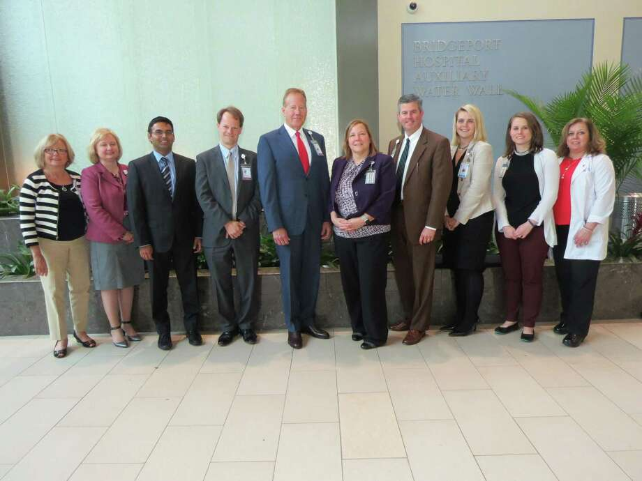 Members of the award-winning Bridgeport Hospital clinical redesign team  with hospital leaders, including William M. Jennings, president and CEO  (fourth from right). Photo: Contributed / Bridgeport Hospital