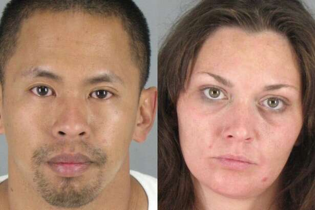 Hanschris Ballente, 37, of Modesto and Kaylee Kunce, 31, of Stockton were arrested on charges including suspicion of stealing a vehicle and possession of 10 identification cards belonging to other people, tear gas and illegal substances, according to the San Mateo County Sheriff's Office.
