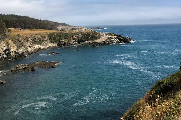 A helicopter assists in the search for a diver near Gerstle Cove at Salt Point State Park on Saturday, June 16, 2018. A 51-year-old Fremont man died Saturday in the waters off the California coast.