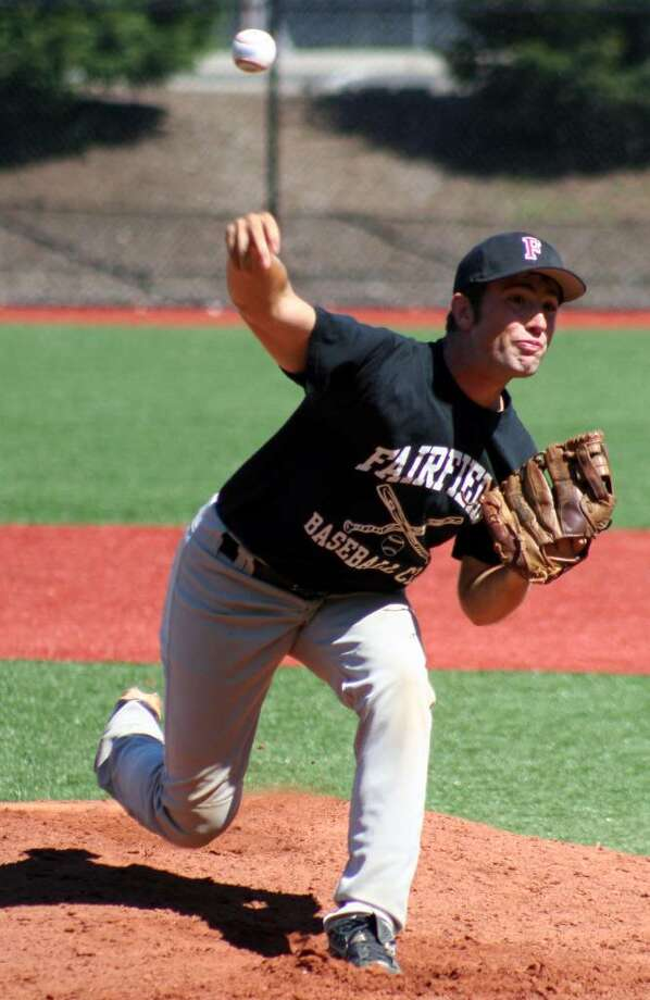 Fairfield pitcher Zach Garoffolo delivers home in Fairfield's 5-1 win over Darien in the Fairfield County Senior Babe Ruth Finals at Darien High School. Photo: Tim Parry, Tim Parry For The Fairfield Citizen
