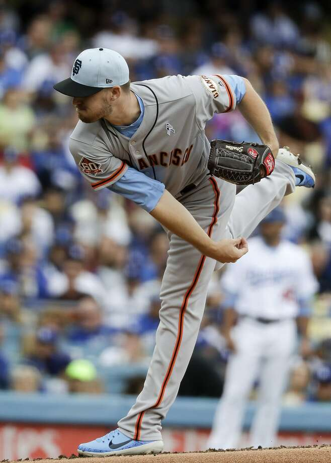 San Francisco Giants starting pitcher Chris Stratton throws against the Los Angeles Dodgers during the first inning of a baseball game in Los Angeles, Sunday, June 17, 2018. (AP Photo/Chris Carlson) Photo: Chris Carlson, Associated Press