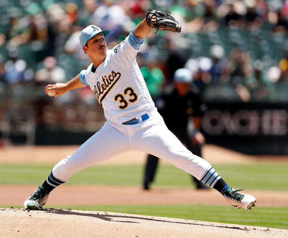 Oakland Athletics' starting pitcher Daniel Mengden pitches in 1st inning against Los Angeles Angels at Oakland Coliseum in Oakland, Calif. on Sunday, June17, 2018.