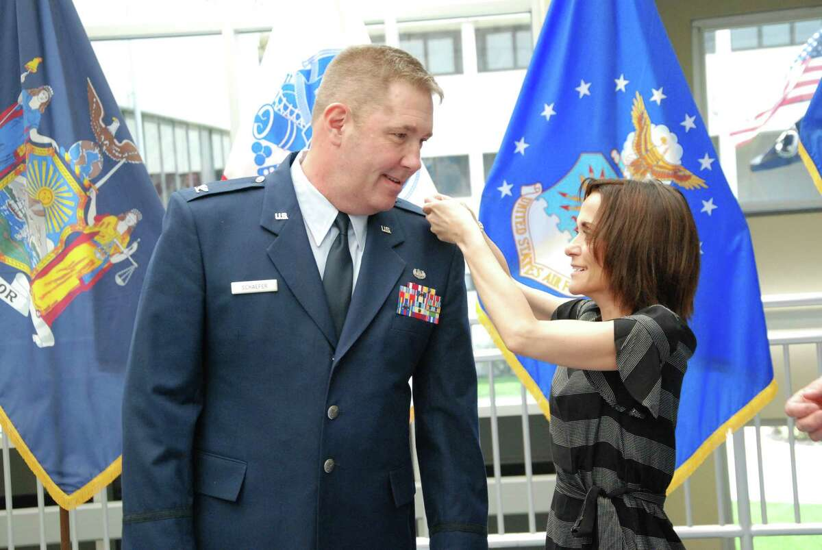 New York Air National Guard officer Larry Schaefer receives his promotion to the rank of colonel during a ceremony at the Joint Force Headquarters in Latham, N.Y. May 5, 2018. Schaefer has more than 26 years of military service and is assigned as the Staff Judge Advocate for the New York Air National Guard. Photo by Col. Richard Goldenberg, New York National Guard.