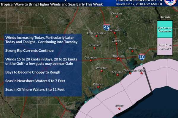 Small Craft Advisory forecast by the National Weather Service.