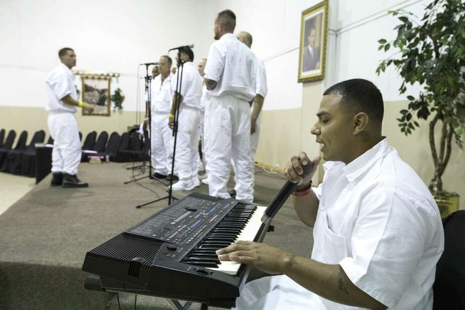 Maurice Castillo plays the keyboards as he plays with a combined choir made up of inmates from the Jester 3 and Vance Units peform at St. Paul Baptist Church for Father's Day on Sunday, June 17, 2018, in Houston. ( Brett Coomer / Houston Chronicle ) Photo: Brett Coomer, Staff / Houston Chronicle / © 2018 Houston Chronicle